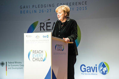German Chancellor Angela Merkel increased Germany's contribution to €600 million at the Gavi Pledging Conference in January