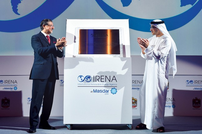 Adnan Amin and H.H. Sheikh Abdullah bin Zayed Al Nahyan, UAE Minister of Foreign Affairs, at the opening of the new IRENA headquarters in June 2015